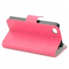 Protective PU Leather + Plastic Case for IPHONE 4 / 4S - Deep Pink