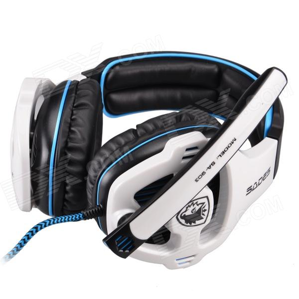 SADES SA-903 USB 2.0 Gaming Headphones w/ Microphone - Black + White (300cm-Cable)