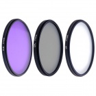77MM Universal 77mm UV + CPL + FLD Lens Filter for DSLR - Black