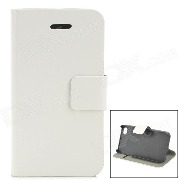 Protective PU Leather Case w/ Card Holder Slot for IPHONE 4 / 4S - White remax protective flip open pu leather case w visual window for iphone 4 4s white