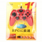 JY-P76 USB 2.0 Wired Game Controller for PC - Red + Black (200cm-Cable)
