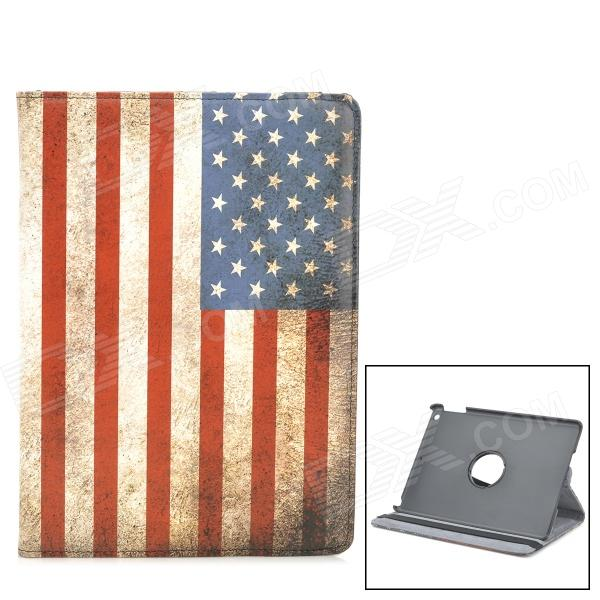 US National Flag Style 360 Degree Rotation Protective PU Leather Case for IPAD AIR - Red + Blue
