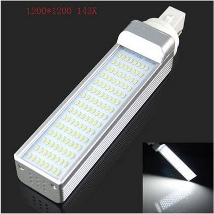 HZLED G24 9W 800lm 6000K 80 x SMD 3014 LED White Light Bulb - White + Silver (AC 85~265V)