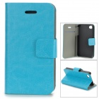 Protective PU Leather Case w/ Card Holder Slot for IPHONE 4 / 4S - Blue