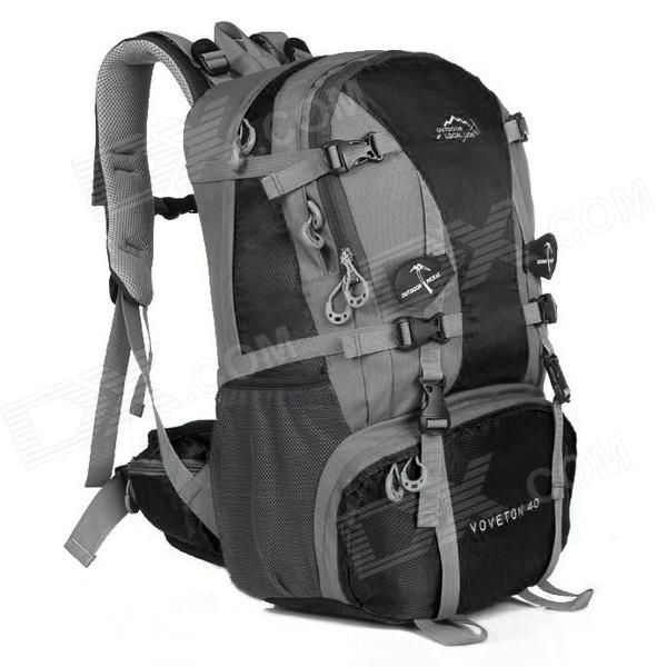 LKLR 429 Convenient Outdoor Sports Nylon Backpack for Hiking - Black + Grey (40L)