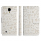Fairy Style Protective PU Leather Case Cover for Samsung Galaxy S4 i9500 - White