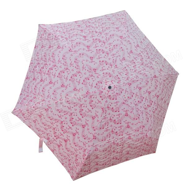 DEDO MG-123 3-Folding Lady's Umbrella with Music Symbol Pattern - Pink + Deep Pink