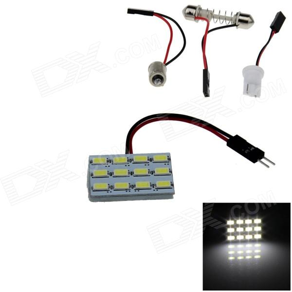 T10 / BA9S / Festoon 2.4W 240lm 12 x SMD 5630 LED White Light Car Reading / Painel Light - (12V)