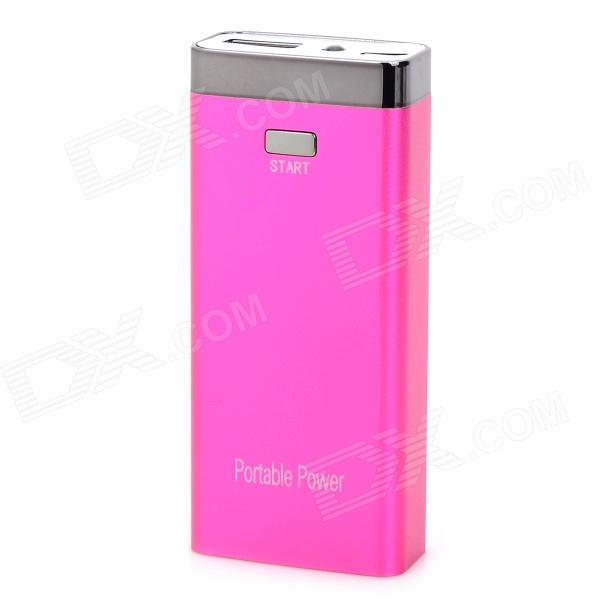 S-What Universal 6800mAh Rechargeable Li-ion Portable Power Bank - Deep Pink + Silver xiaomi universal 10400mah usb li ion battery power bank w 4 led indicators deep pink