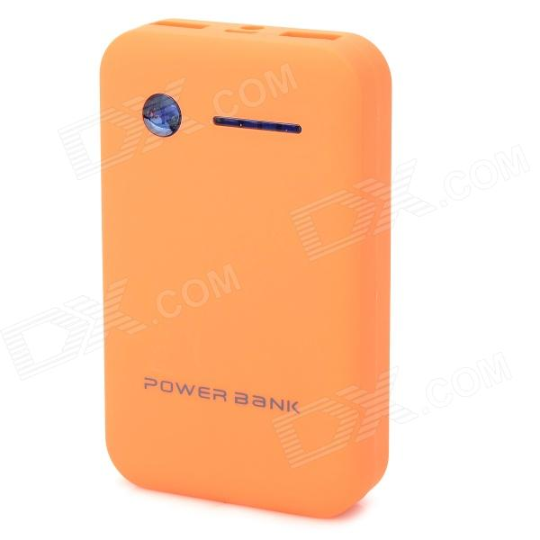 Dual USB 5V 8600mAh Li-Polymer Battery Power Bank w/ LED for IPHONE 5 / 5S + More - Black + Orange ultra thin universal 5v 5000mah li polymer battery power bank w led indicator black
