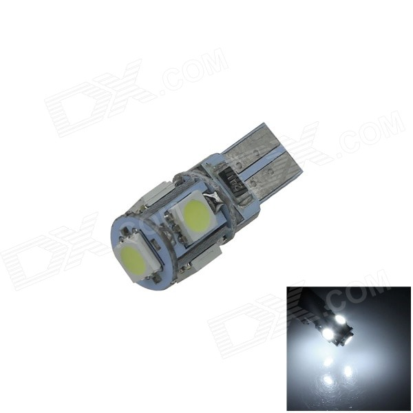 T10 1W 100lm 5-SMD 5050 LED White Light Canbus Error Free Car Side Light / Clearance lamp - (12V) 4x canbus error free t10 194 168 w5w 5050 led 6 smd white side wedge light bulb