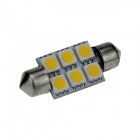 Festoon 36mm 0.5W 60lm 6 x SMD 5050 LED Warm White Light Car Reading / Indicator / Roof Lamp - (12V)