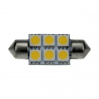 Festoon 36mm 0.5W 60lm 6 x 5050 SMD LED Warm White Light Car Lectura / Indicador / techo Lamp - (12V)