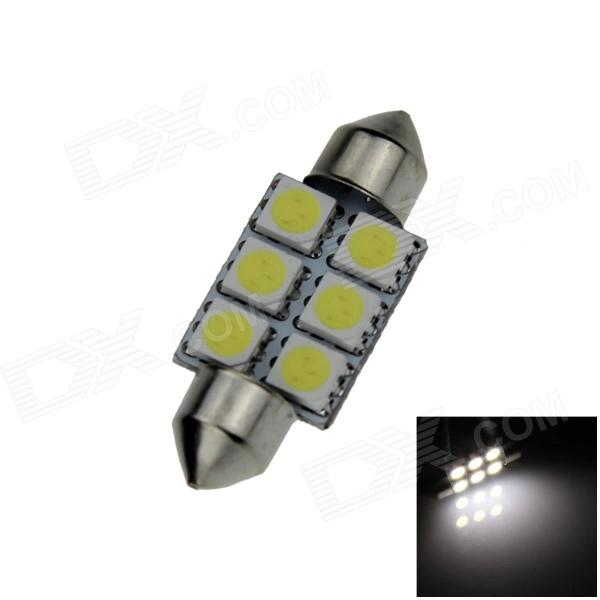 Festoon 36mm 0.5W 60lm 6 x SMD 5050 LED White Light Car Reading / Indicator / Roof Lamp - (12V) lx 3w 250lm 6500k white light 5050 smd led car reading lamp w lens electrodeless input 12 13 6v