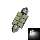 Festoon 36mm 0.5W 60lm 6 x SMD 5050 LED White Light Car Reading / Indicator / Roof Lamp - (12V)