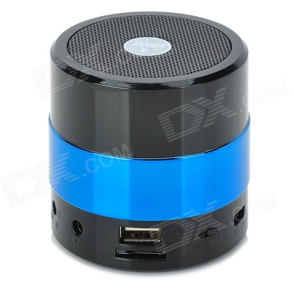 SDY001 3W Bluetooth V2.1 Speaker w/ Mini USB / USB 2.0 / 3.5mm / FM / TF - Black + Light Blue mini portable bluetooth v2 0 mp3 player speaker w mini usb fm tf led green transparent