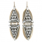 ER-5296 Punk Style Women's Zinc Alloy Earrings - Black + Golden (Pair)