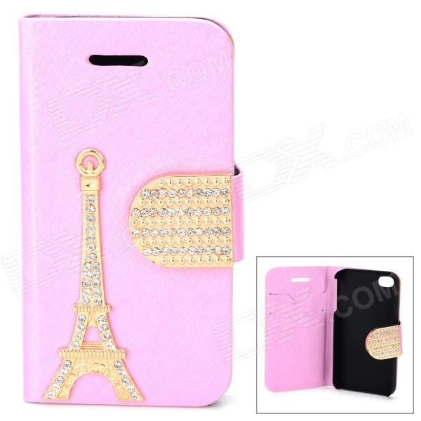 PUDINI WB-U4S Stylish Crystal-inlaid Eiffel Tower Decorated Flip-open PU Case for IPHONE 4S - Pink pudini wb ip5g rhinestone eiffel tower style pu leather case for iphone 5 brown golden