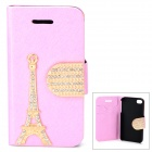 PUDINI WB-U4S Stylish Crystal-inlaid Eiffel Tower Decorated Flip-open PU Case for IPHONE 4S - Pink