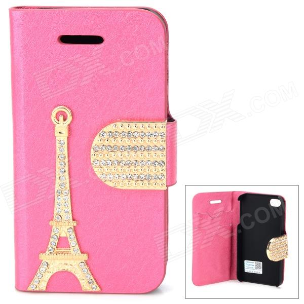 PUDINI WB-U4S Crystal-inlaid Eiffel Tower Decorated Flip-open PU Case for IPHONE 4S - Deep Pink protective pu leather flip open case for iphone 4 4s deep pink