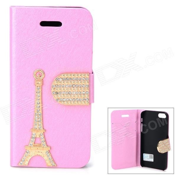 PUDINI WB-I5S Stylish Crystal-inlaid Eiffel Tower Decorated Flip-open PU Case for IPHONE 5S - Pink st decorated up