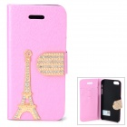 PUDINI WB-I5S Stylish Crystal-inlaid Eiffel Tower Decorated Flip-open PU Case for IPHONE 5S - Pink