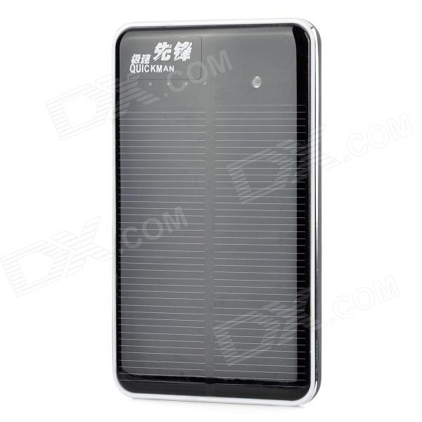 Quickman Ultra-Slim Portable Solar 10000mAh Power Bank w/ Dual-USB - Black