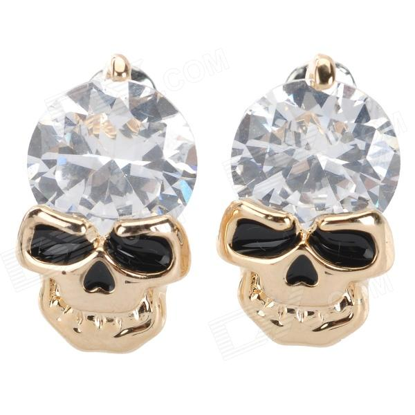 BEILIYA Skull Head Style Fashionable Alloy + Zircon Earrings - Golden (Pair)