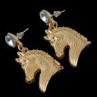 Stylish Horse Head Style Zinc Alloy Women's Earrings - Golden (Pair)