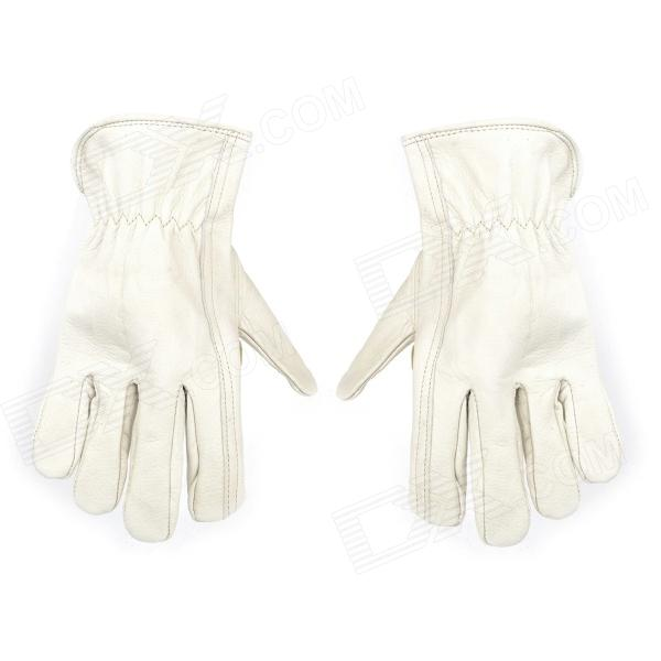 Galilee pncg 100351 Protective PU Leather Gloves - Beige (Pair)