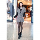 Splicing Medium Style Wool Coat for Women - Black + White (Size L)