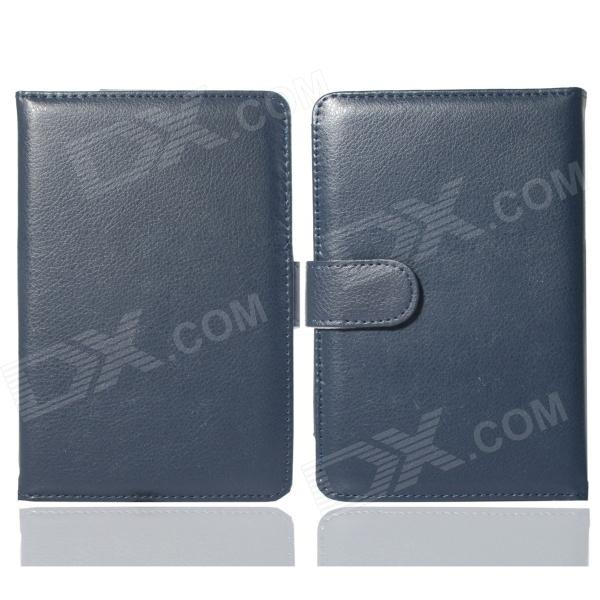 Hand Support Function Protective PU Leather Case for Pocketbook Touch 624 - Deep Blue