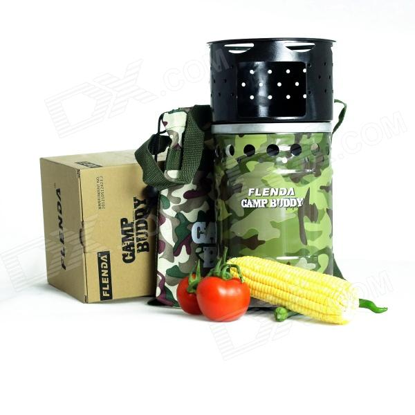 FLENDA CB-R138-06-09 Portable Camp Buddy Wind-Proof Multi-fuel Stove - Camouflage + Black