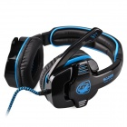 SADES SA-901 USB 2.0 Wired Headphones w/ Microphone - Black + Blue (307cm-Cable)