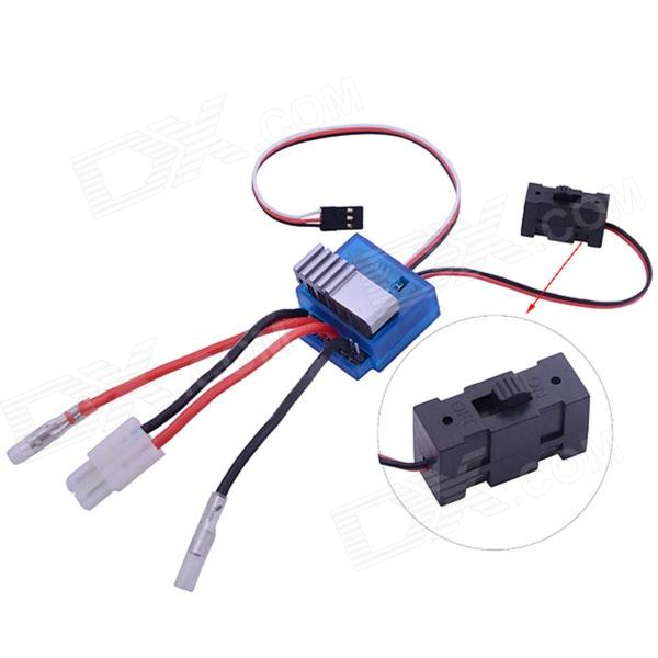 TD-007 320A Toveis High Voltage Brush ESC Speed ​​Controller w / brems for 1:10 RC Bil - Svart + Blå