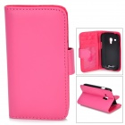 Protective PU Leather Case for Samsung Galaxy S3 Mini i8190 - Deep Pink