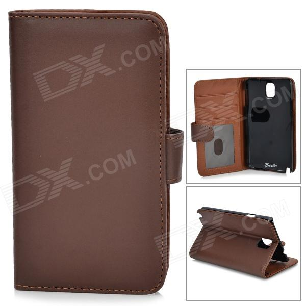Protective PU Leather Case for Samsung Galaxy Note 3 N9006 / N9000 / N9002 - Brown + Black metal ring holder combo phone bag luxury shockproof case for samsung galaxy note 8
