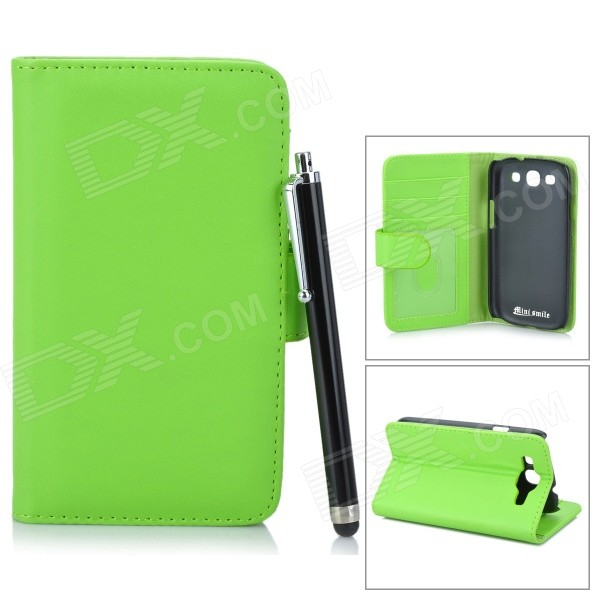 Protective PU Leather Case w/ Card Slot for Samsung Galaxy S3 / i9300 - Green + Black