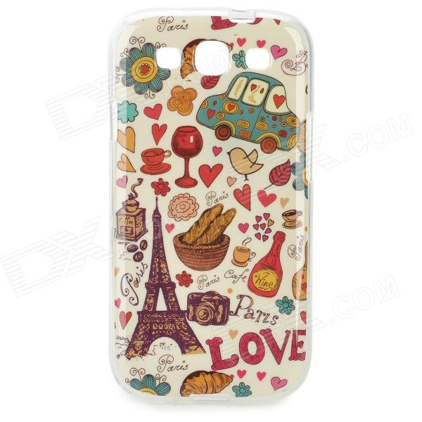 Eiffel Tower Pattern Protective TPU Back Case for Samsung Galaxy S3 i9300 - Red + Brown + Multicolor cm001 3d skeleton pattern protective plastic back case for samsung galaxy s4