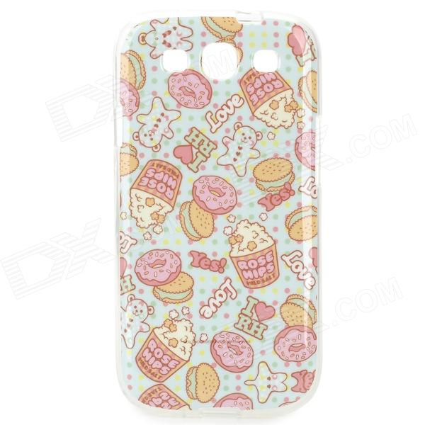 все цены на Cakes & Biscuits Pattern Protective TPU Back Case for Samsung Galaxy S3 i9300 - Pink + Yellow + Blue онлайн