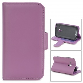Protective PU Leather Case w/ Card Slot for Samsung Galaxy S3 Mini / i8910 - Purple