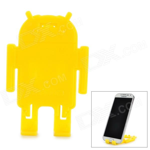 Cute Mini Plastic Stand Holder Support for Cell Phone - Yellow plastic desktop stand holder for cell phones white