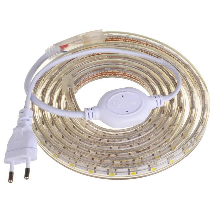 JR IP66 26W 1800lm 6500K 120-5050 SMD White Light LED Strip - White (AC 220V / 2m)