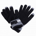 Chthi YMX-B2 Bluetooth Talking Warm Knitted Winter Gloves w/ Speaker for Cellphone - Black Grey