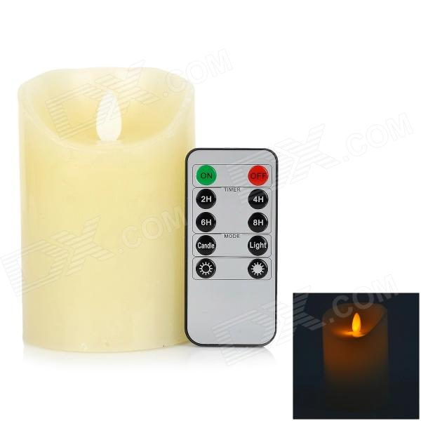 LED Flameless Electronic Candle w/ 10-key Controller - White