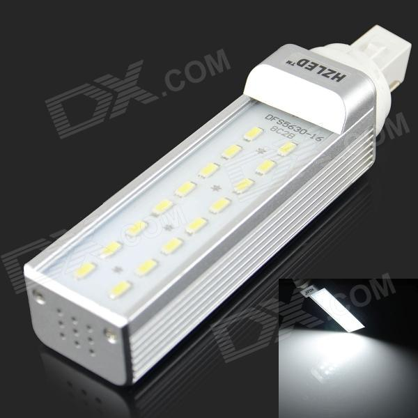 HZLED G24 8W 600lm 6000K 16 x SMD 5630 LED White Light Lamp Bulb - White + Silver (AC 85~265V)