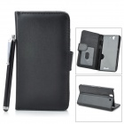 Protective PU Leather Case w/ Card Slot + Stylus for Sony Xperia Z / L36h / C6603 - Black
