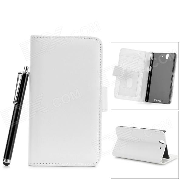 купить Protective PU Leather Case w/ Card Slot + Stylus for Sony Xperia Z / L36h / C6603 - White недорого
