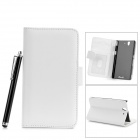 Protective PU Leather Case w/ Card Slot + Stylus for Sony Xperia Z / L36h / C6603 - White