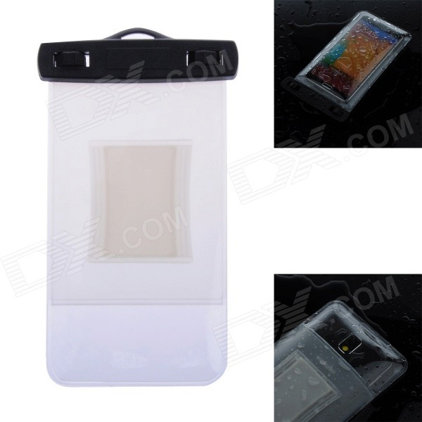 WP-02 Waterproof Bag Case w/ Strap / Armband for Samsung Galaxy Note 2 / Note 3 - Translucent White